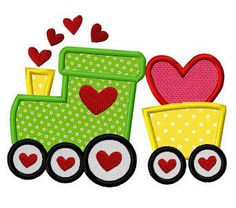 Valentine love train applique machine embroidery design digital pattern