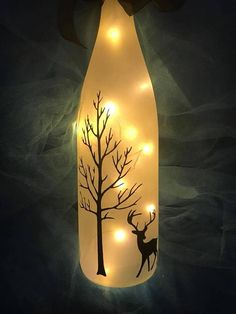 Frosted lighted wine bottle