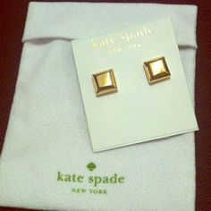 NWT Kate spade pyramid square studs Very classy gold pyramid 3d square stud earrings, comes in original dust bag with tags, never worn brand new, no damages, gold color (gold bar resemblance) HOST PICK URBAN GLAM PARTY 8/24/14. Style: Big Dipper Small Studs. PRICE IS FIRM kate spade Jewelry