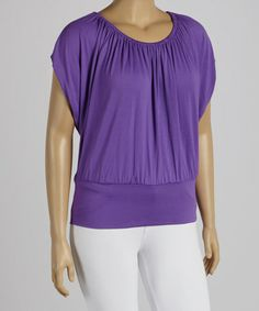 Look what I found on #zulily! Purple Cape-Sleeve Top - Plus #zulilyfinds