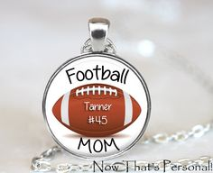 FOOTBALL MOM pendant with child's name and by NowThatsPersonal, $15.95