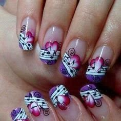 Simple Nail Art Designs That You Can Do Yourself – Your Beautiful Nails Music Nail Art, Music Nails, Music Note Nails, Art Music, Fancy Nails, Cute Nails, Pretty Nails, Acrylic Nail Art, Acrylic Nail Designs