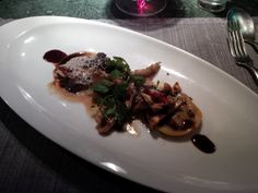Ravioli with red wine shallots, filled with sautéed forest mushrooms and parmesan @ Restaurant Blu Mediteraneo