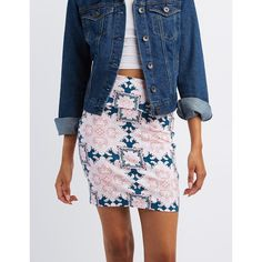 Charlotte Russe Printed Bodycon Mini Skirt ($11) ❤ liked on Polyvore featuring skirts, mini skirts, dark blue combo, patterned mini skirt, mini skirt, blue mini skirt, paisley print skirt and short skirts