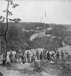 Cook's Boston Light Artillery. Thomas Viaduct and Patapsco River in Elkridge Heights Maryland in the background 1861.