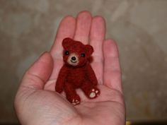 needle felted teddy bear miniature only 1.5""