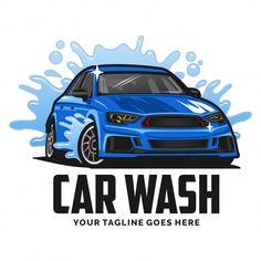 Inspiração de design de logotipo de lavagem de carro Vetor Premium