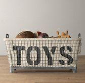 RH Baby & Child's Industrial Basket & Toys Liner:Modeled after the rugged wire bins found in industrial settings, our welded steel basket is outfitted with sturdy handles and raised feet.