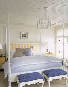 Blue and White Decorating - Blue and White Rooms - House Beautiful  Oh how I LOVE this room - Blue, chambrey and yellow and white stripes - stunning!!