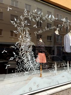 Louloute shop window art, illustration by maria over. Presenting the new collect. Louloute shop window art, illustration by maria over. Presenting the new collection by Claire Massieu Mode à la carte Shop Window Displays, Store Displays, Retail Displays, Merchandising Displays, Shop Interior Design, Store Design, Painted Window Art, Window Mural, Retail Windows