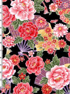 Items similar to 3 yards Kona Bay Sakura Collection Black with Multi-Colored Fans on Etsy Japanese Textiles, Japanese Patterns, Japanese Prints, Japanese Design, Japanese Flowers, Japanese Paper, Japanese Fabric, Korean Art, Asian Art