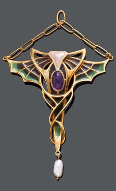 AN ART NOUVEAU PEARL, ENAMEL AND AMETHYST PENDANT, probably Pforzheim, ca. 1900. Designed with stylised wing motifs, set with one oval amethyst cabochon and decorated with plique-à-jour enamel in shades of green and pink, suspending one rice-shaped freshwater cultured pearl, probably not original, mounted in gold. #Pforzheim #ArtNouveau #pendant | JV