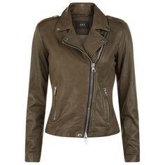 SET Leather Jacket (£369) ❤ liked on Polyvore featuring outerwear, jackets, leather biker jacket, shiny jacket, leather jackets, genuine leather jackets and brown jacket