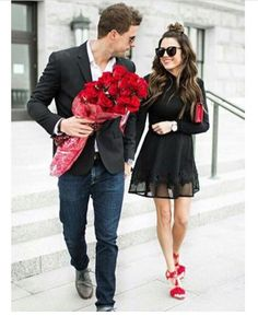 Perfect Couple. Love. Cute. Relationship Goal. Flowers. Red Roses. Baby you and me.