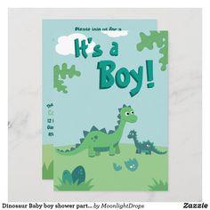 Dinosaur Baby boy shower party invitation Baby Boy Invitations, Dinosaur Invitations, Custom Invitations, Party Invitations, Eggs For Baby, Baby Boy Cards, Shower Party, Baby Boy Shower