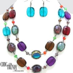 CLEARANCE MULTI COLOR GEM CHUNKY NECKLACE JEWELRY SET CHIC AND TRENDY #Unbranded
