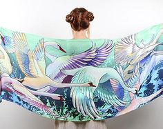 Swans scarf, bohemian birds wings feathers shawl, hand painted, digital print, wrap sarong, perfect gifts.