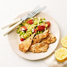 HEALTHY Lemon-Thyme Chicken With Sauteed Vegetables. I'm not a fan of zucchini, and my boyfriend isn't a fan of edamame, but we at the crap out of those veggies! This meal is absolutely delicious! ~Erica~