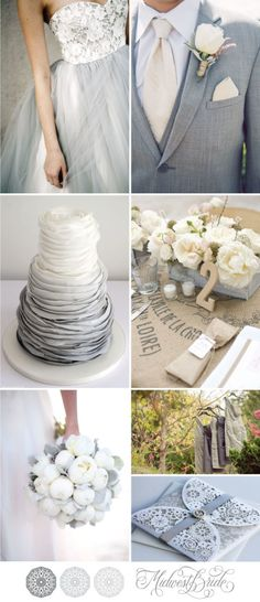 gray and white wedding inspiration board