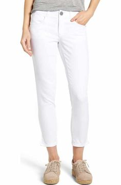 Free shipping and returns on Wit & Wisdom Ab-solution Skinny Crop Jeans (Regular & Petite) (Nordstrom Exclusive) at Nordstrom.com. You'll love how you look in these spring-essential white jeans, thanks to the slimming stretch denim with 'Ab-solution' powermesh panels to mold and hold, including a waistband with interior control and booty-lift construction.