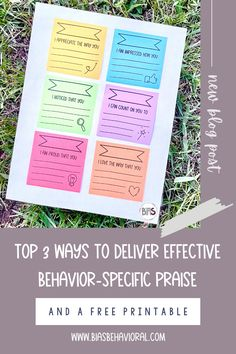 "You might be wondering why behavior-specific praise is a topic I often discuss? Well, it happens to be one of the CHEAPEST and MOST EFFECTIVE strategies in your positive reinforcement toolbox? Do you find that saying ""good job"" all the time feels dull and insincere? All you need are a few key components, and you can step up your praise game! Check out my latest blog post to grab this free printable!"