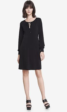 long sleeve tie neck keyhole dress