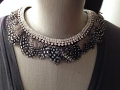 Rhinestone Pearl and Feather Collar Necklace by violajanedesigns, €27.00