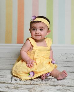 Easter Portrait Girl Easter Picture Spring Photo Baby Girl Spring Photo Yellow Dress 6 month old six months