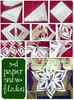 These paper snowflakes are one of my favorite holiday crafts! They're so simple to make, and they look great hung up around the house! Looked good and was easy to do Christmas Projects, Crafts To Make, Holiday Crafts, Fun Crafts, Paper Crafts, Paper Toys, Noel Christmas, All Things Christmas, Winter Christmas