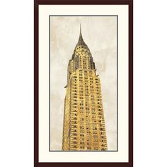 """Global Gallery 'Gilded Skyscraper I' by Joannoo Framed Graphic Art Size: 44"""" H x 26"""" W x 1.5"""" D"""