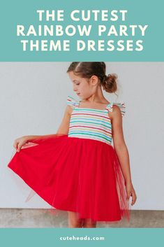 Looking for a rainbow themed girls dress? Look no further we've got you covered. Thisfun rainbow dress comes in a variety of sizes for all girls ages and occasions.  #girlsdress #rainbow #girlsoutfits The Cutest Rainbow Party Theme Dresses for Girls - The Cuteness Girl Birthday Themes, Birthday Party Outfits, Girl Themes, Third Birthday, Party Themes, Party Ideas, Fun Ideas, Gift Ideas, Striped Party Dresses