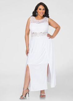 Double slits lace mesh jumpsuit maxi dress white
