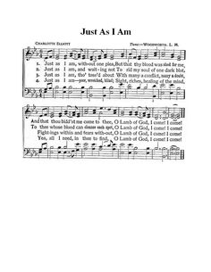 Just As I Am Hymn (a little larger than other one pinned)