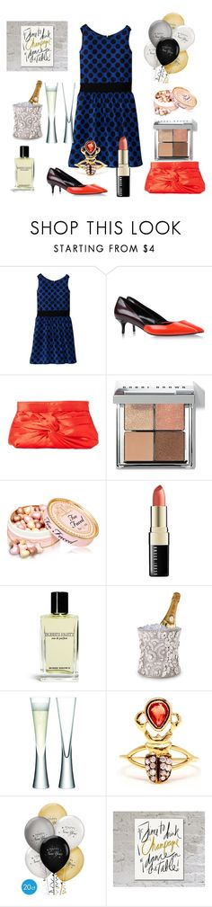 """""""Party in blue dot dress."""" by nathalie-puex ❤ liked on Polyvore featuring Ella Moss, Pierre Hardy, La Regale, Bobbi Brown Cosmetics, LSA International and Daniela Villegas"""