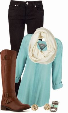 Comfy fall outfits with mint shirt and long boots i like!