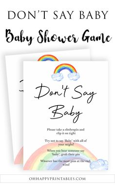 Don't Say Baby Game - Rainbow - Princess K. Baby Games, Baby Shower Games, Baby Boy Shower, Rainbow Boys, Dont Say Baby Game, Happy Baby, Fun Baby, Beautiful Baby Shower, Baby Quotes
