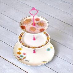 Playful 3 Tier Cake Stand Mid Century China by freshpastrystand, $146.00