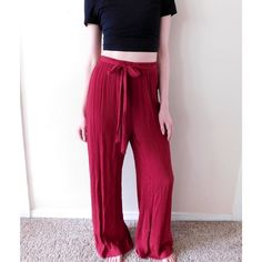 YA Los Angeles Wide Leg Palazzo Pants NWT, never worn. Size medium, can fit sizes S-M because of the stretchy waistband. {Model in the photo wears a small in pants}. PERFECT for festival season! Ask all questions before buying  Smoke/pet free home. No trades ❌ Bundle for a discount  Ya Los Angeles Pants Wide Leg