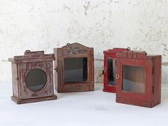View our Clock Showcase Cabinets - Red from the Gifts For The Home collection - these gorgeous small boxes make excellent home decor. They will bring that popular vintage charm to any room in your home. Showcase Cabinet, Traditional Clocks, Salvaged Doors, Vintage Windows, Cupboard Storage, Architectural Salvage, Small Boxes, Home Collections, Kitchen Furniture