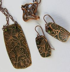 Ginko Etched Copper Pendant Necklace and Earring Set by CSWJewelry, $45.00 I want to be able to do metalwork some day!!,