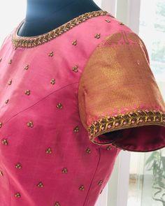 No photo description available. Pattu Saree Blouse Designs, Blouse Designs Silk, Designer Blouse Patterns, Bridal Blouse Designs, Kurta Designs, Sari Blouse, Hand Work Blouse Design, Simple Blouse Designs, Stylish Blouse Design
