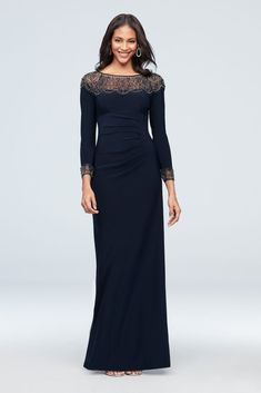 Find Xscape dresses perfect for your special occasion! Check out David's Bridal selection of beaded & illusion dresses available in plus-size & petite styles. Mob Dresses, Necklines For Dresses, Wedding Dresses, Blue Dresses, Mother Of The Bride Dresses Long, Mothers Dresses, Special Dresses, Blue Dress With Sleeves, Party Dresses