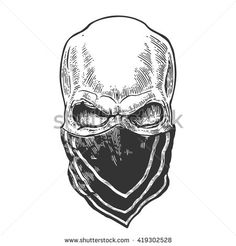 Skull with bandana. Black vintage vector illustration. For poster and tattoo for biker club. Hand drawn design element isolated on white background