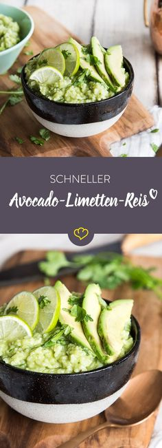 Schneller Avocado-Limetten-Reis Green, green, green is everything we love. Avocado, coriander and lime almost everything you need for your green rice. Grilling Recipes, Diet Recipes, Vegetarian Recipes, Healthy Recipes, Recipes Dinner, Avocado Dessert, Avocado Smoothie, Avocado Cheesecake, Breakfast And Brunch