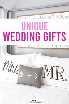 Ahhhh! Super sweet wedding gift for the bridge and groom! The couple will love this wedding gift. It's romantic, thoughtful, creative, and a great way to remember their wedding day! These Mr. & Mrs. pillowcases are the perfect gift to decorate their apartment and show their love! #CottonAnniversary #BedroomDecor #AnniversaryGift #WeddingGift #OhSusannah Funny Wedding Gifts, Creative Wedding Gifts, Cotton Anniversary Gifts, Year Anniversary Gifts, Romantic Bedroom Decor, Diy Bedroom Decor, Monochrome Bedroom, Cotton Gifts, Decorative Pillow Cases