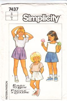 Simplicity 7437 Child's Easy Shorts & Tops Sewing Pattern 5 Uncut