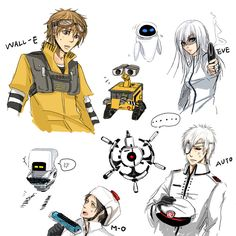 Human WALL-E characters by SchifferCake at Deviantart.
