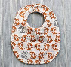 Fox Baby Bib- Boy or Girl Minky Dot Bib - Orange and Gray Fox Print - Foxes Large Baby Bib - Gray Minky Dot Reverse Side