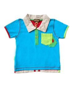 Loving this Turquoise Color Block Polo - Infant on #zulily! #zulilyfinds