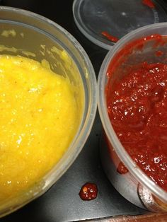 """Bravado Spice"" on Kickstarter: Roasted pineapple and habanero sauce is a blend of only the freshest and juiciest pineapples with fiery habaneros, roasted to perfection and augmented with a little garlic and bell pepper. Crimson chili sauce is thick, bold and powerful; an impressive blend of chile de arbol and guajillo chilis, this sauce is intended to stand on it's own or be poured over everything."